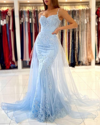 Charming Sky Blue Spaghetti Straps Lace Mermaid Evening Dress with Tulle Train_5