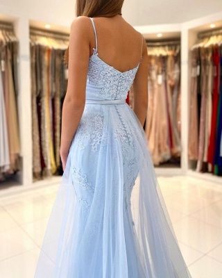 Charming Sky Blue Spaghetti Straps Lace Mermaid Evening Dress with Tulle Train_2
