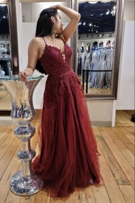 Charming Spaghetti Straps Burgundy Evening Dress with Tulle Lace Appliques