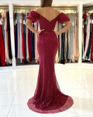 Stunning Off-the-Shoulder Mermaid Evening Gowns with Side Split_2