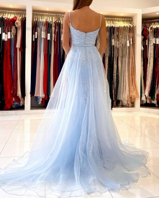 Charming Sky Blue Spaghetti Straps Lace Mermaid Evening Dress with Tulle Train_3