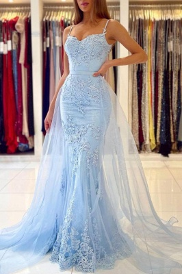 Charming Sky Blue Spaghetti Straps Lace Mermaid Evening Dress with Tulle Train