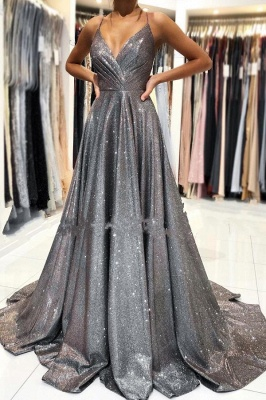 Charming Straps Ruffle Sparkly Sequins Aline Evening Party Dress