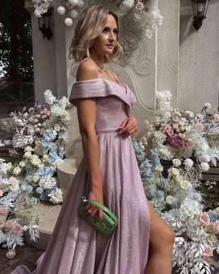 Stylish Shinny Sequins Off Shoulder Long Evening Party Dress with Side Slit_2