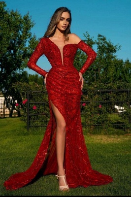 Sexy Red Long Sleeves Mermaid Prom Dress Sparkly Sequins with Side Slit