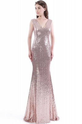 2020 Mermaid V-Neck Simple Sequins Long Evening Dresses_1