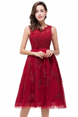 Glamorous Burgundy Sleeveless 2020 Short Prom Dress Tulle Appliques Online_1