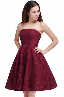 Short Simple Strapless Sleeveless Burgundy A-line Homecoming Dress_1