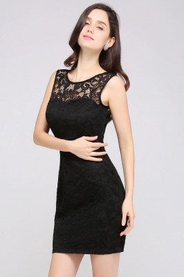 Back-Zipper Sheath-Column Lace Short-Mini Scoop-neckline Cocktail Dress_9