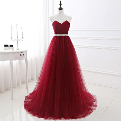 Elegant Burgundy Tulle Evening Dresses | 2020 Long Crystal Prom Gowns_2