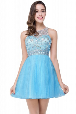 Elegant Beadings Crystal Short Prom Dress Chiffon Homecoming Gown_4