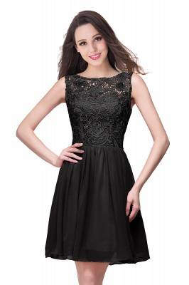 Lovely Illusion Sleeveless Chiffon Short Cocktail Dress With Lace_8
