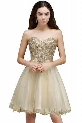 Lovely Sweetheart Short Appliques Lace-Up Homecoming Dress_2