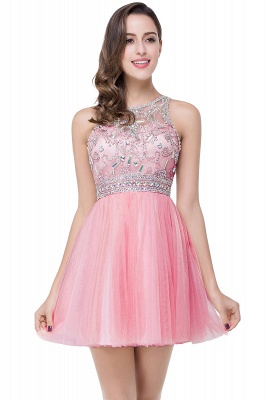 Elegant Beadings Crystal Short Prom Dress Chiffon Homecoming Gown_1