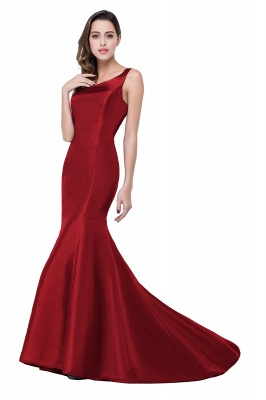 Sexy Burgundy One Shoulder Mermaid Prom Dress With Train_1