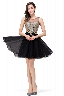 Sleeveless Appliques 2020 Sexy Black Tulle Homecoming Dress_6