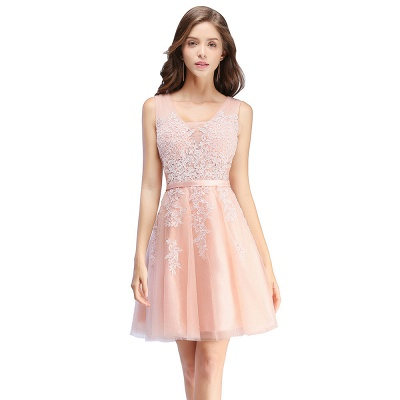 Beautiful Sleeveless lace-up Short homecoming Dress 2020 Lace Appliques Tulle BA3782_1