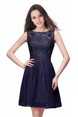 Lovely Illusion Sleeveless Chiffon Short Cocktail Dress With Lace_7