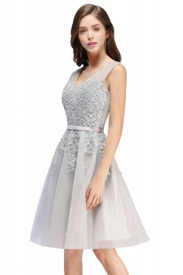 Beautiful Sleeveless lace-up Short homecoming Dress 2020 Lace Appliques Tulle BA3782_3