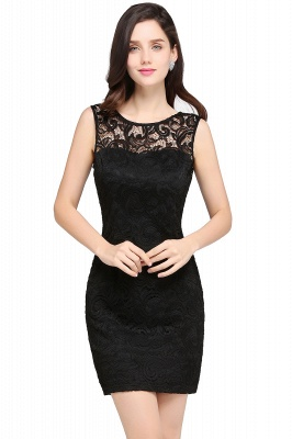 Back-Zipper Sheath-Column Lace Short-Mini Scoop-neckline Cocktail Dress_3