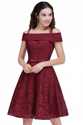 Off-the-Shoulder Lace Burgundy Simple A-Line Homecoming Dress_1