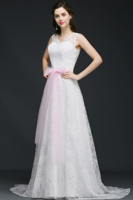 Elegant Sleveless A-line Simple Wedding Dress Party Dress With Bowknot