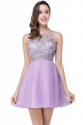 Elegant Beadings Crystal Short Prom Dress Chiffon Homecoming Gown_3