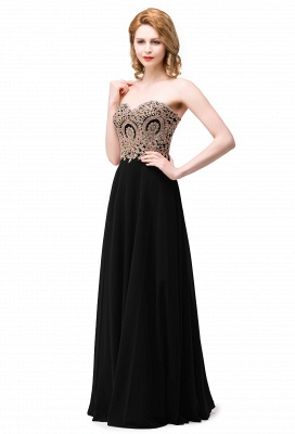 2020 Appliques Chiffon Long Burgundy Cheap Sweetheart-Neck Prom Dresses_2