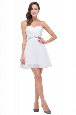 Short Sweetheart Chiffon White Elegant Crystal Homecoming Dress_1