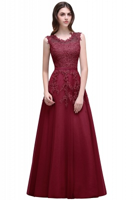 2020 Bateau-Neck Lace Red A-line Beaded Long Party Dresses_3