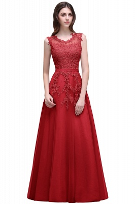 2020 Bateau-Neck Lace Red A-line Beaded Long Party Dresses_2