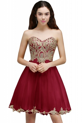 Lovely Sweetheart Short Appliques Lace-Up Homecoming Dress_1
