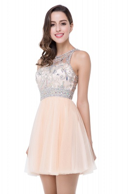 Elegant Beadings Crystal Short Prom Dress Chiffon Homecoming Gown_2