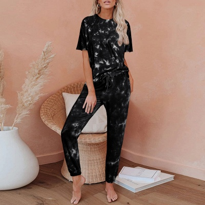 Women HomewearTie Dye Pajamas Set Short Sleeve Two Pieces Round Neck Loungewear Sleepwear_3