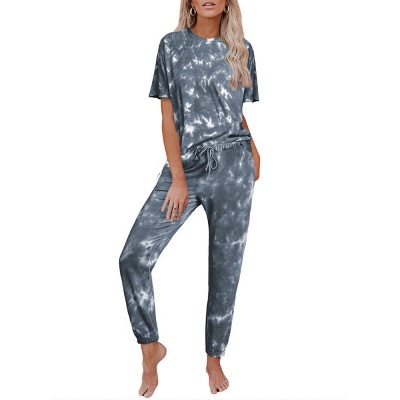 Women HomewearTie Dye Pajamas Set Short Sleeve Two Pieces Round Neck Loungewear Sleepwear_5
