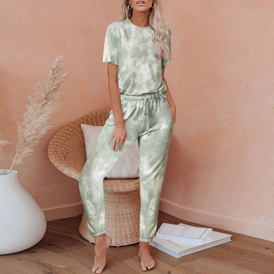 Women HomewearTie Dye Pajamas Set Short Sleeve Two Pieces Round Neck Loungewear Sleepwear_4