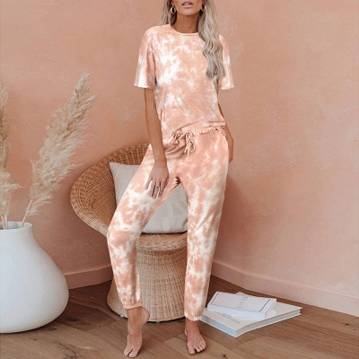Women HomewearTie Dye Pajamas Set Short Sleeve Two Pieces Round Neck Loungewear Sleepwear_1
