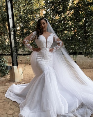 Double V-Neck Long Sleeve White Lace Appliques Tulle Mermaid Bridal Gowns with Veils_2