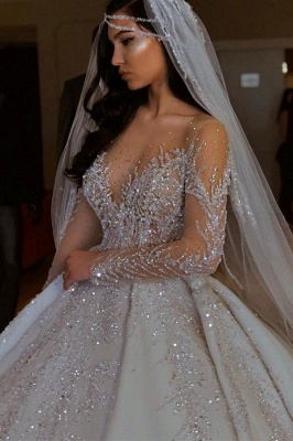 Luxury V-Neck Long Sleeve Floral Crystals A-line Ball Gown Satin Beads Bridal Gowns_2