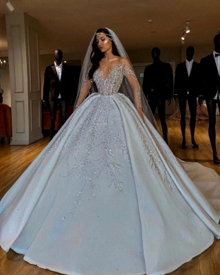 Luxury V-Neck Long Sleeve Floral Crystals A-line Ball Gown Satin Beads Bridal Gowns_3