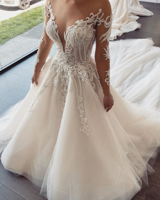 Double Deep V-Neck Long Sleeve Lace Appliques A-line Bridal Gowns_1