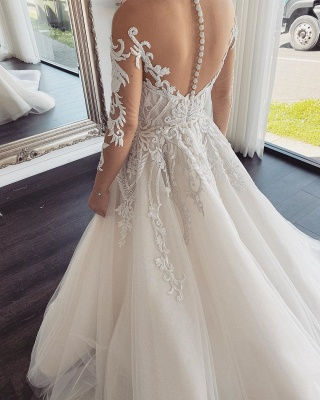 Double Deep V-Neck Long Sleeve Lace Appliques A-line Bridal Gowns_2