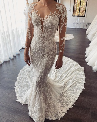 Elegant Long Sleeve Floral Appliques Slim Mermaid Beach Wedding Dress_1