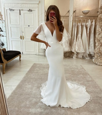 Elegant V-Neck Ruffle Sleeve Satin Belt Floor Length Mermaid Wedding Dress