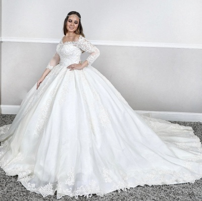 3/4 Sleeve White Lace Appliques Ball Gowns Wedding Dress Sweep Train_1