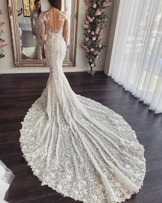 Elegant Long Sleeve Floral Appliques Slim Mermaid Beach Wedding Dress_2