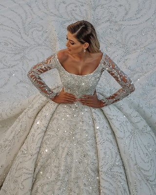 Luxury Glitter Scoop Neck Long Sleeve Cystals Ball Gowns Satin Sweep Train_3