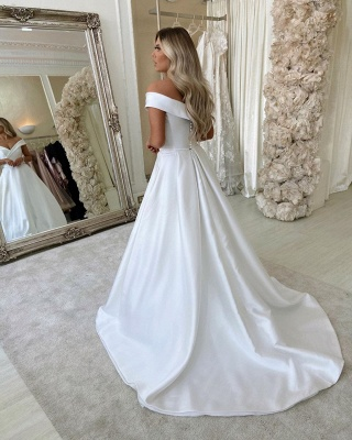 Off Shoulder Lace Satin Floor length Chapel Bridal Wedding Dress with Sweep Train_2