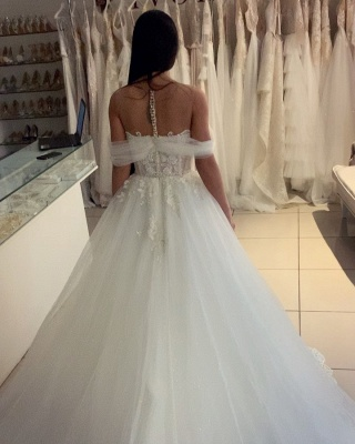 Charming Off Shoulder V-Neck White Lace Appliques A-line Ball Gowns Tulle Bridal Dress_2