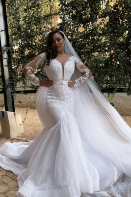 Double V-Neck Long Sleeve White Lace Appliques Tulle Mermaid Bridal Gowns with Veils